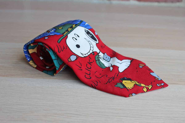 Peanuts Silk Necktie Decorated with Snoopy and Woodstock on a Camping Trip