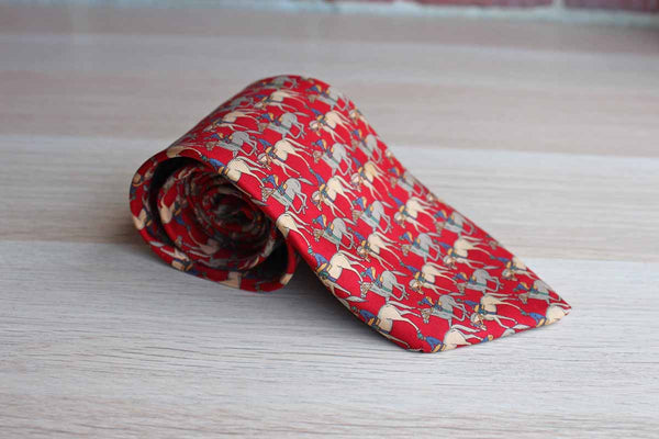 Brooks Brothers (New York, USA) 100% Silk Necktie Decorated with Horses and Jockeys