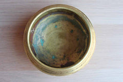 Solid Brass Bowl with Etched Birds and Flowers