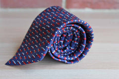 Caesar Via Della Croce Roma (Italy) 100% Silk Tie with Convertbles on Navy Background