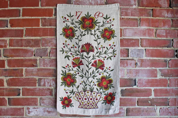"John L. Gieroch Pure Linen Tea Towel Printed with Colonial Inspiured Flowers and ""1770"""
