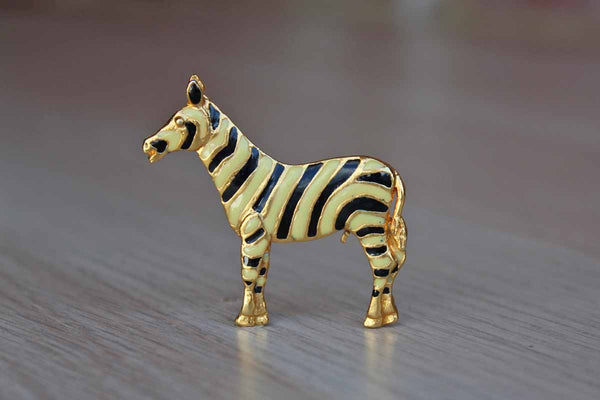 Zebra Brooch with Yellow and Black Enameled Stripes
