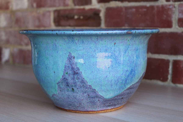 Large Handmade Stoneware Bowl with Blue and Purple Glaze