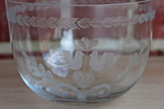 Glass Bowl with Etched Wedding Doves and a Heart Design