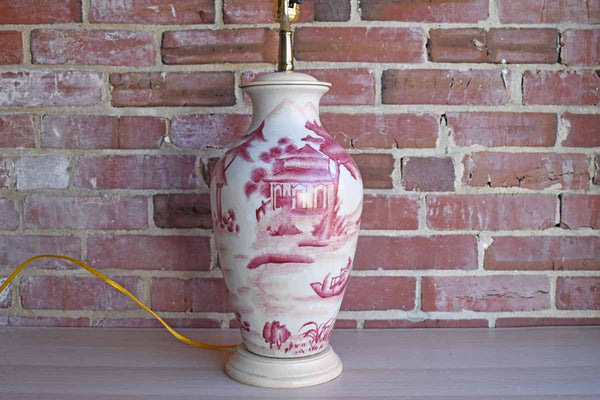 Large Urn-Shaped Ceramic Lamp with Red Hand-Painted Landscape Scene