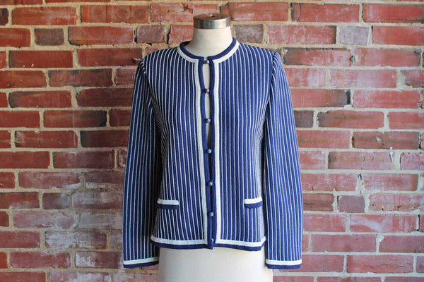 Castleberry (London, New York) Navy Blue and White Striped Knit Jacket