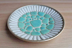 Turquoise and White Ceramic Mosaic Plate