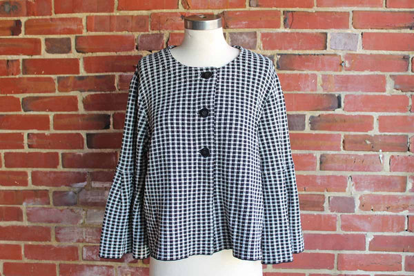 Jones New York Black and White Checkered WOman's Jacket, Size Medium