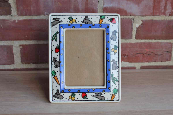Dansk International Designs Ceramic Picture Frame Decorated with Rabbits and Vegetables