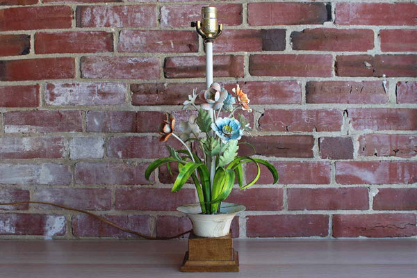 Italian Floral Tole Lamp with Some Natural Age to the Colorful Finish