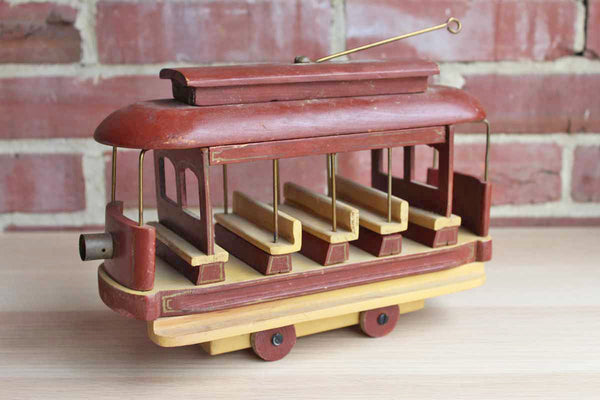 Painted Wood Cable Car Decorative Toy