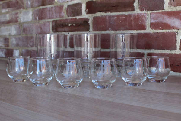 "Set of Drink Glasses with Etched ""M"" Monogram, 9 Pieces"