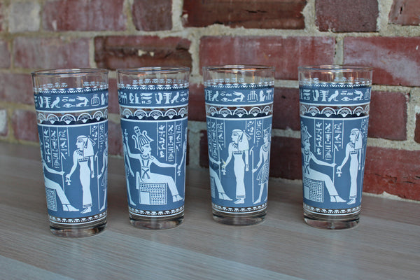 Hazel Atlas Glass Company (West Virginia, USA) Wedgwood Blue Tall Rocks Glasses with Egyptian Characters, Set of 4