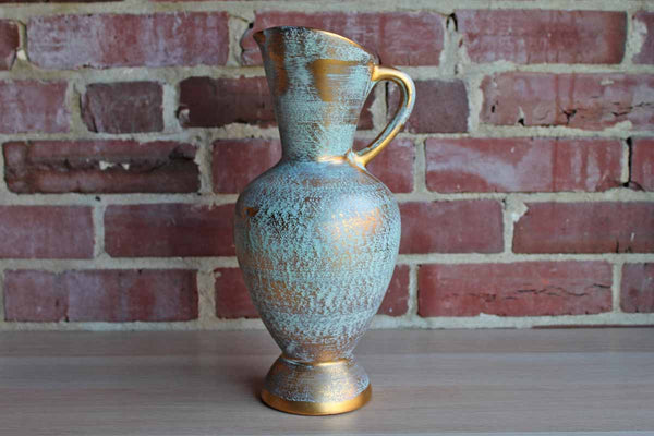 Stangl Pottery (New Jersey, USA) Ceramic Brushed Gold Over Green Handled Pitcher