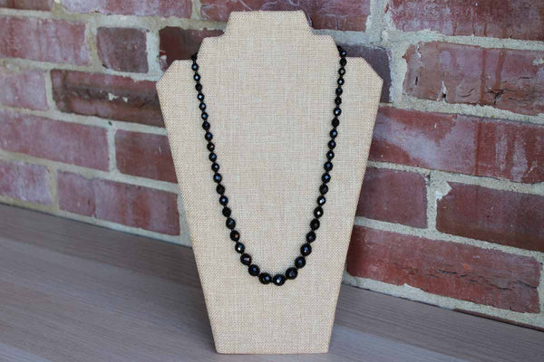 Black Faceted Glass Bead Single Strand French Jet Necklace