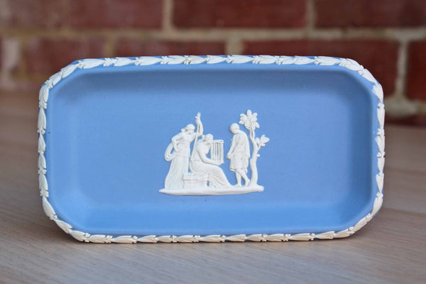 Wedgwood (England) Oblong Blue Jasperware Tray with Patrician Group Holding a Cage