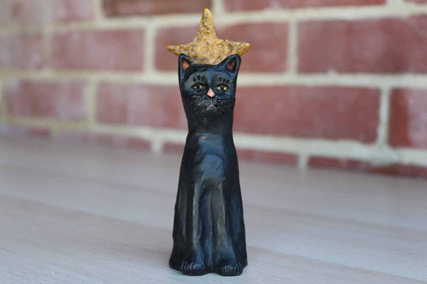 E. Smithson Black Resin Cat with Gold Star Abive its Head