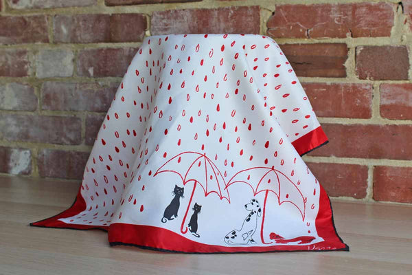 Vera (New York, USA) Red and Black Scarf with Cats and Dogs Under Umbrellas
