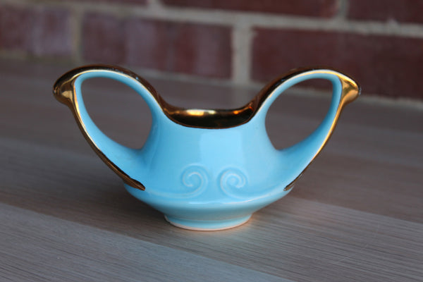 Robin's Egg Blue Ceramic Sugar Bowl with Gilded Handles