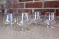 Clear Etched Glass Aperitif Miniature Brandy Snifters, Set of 4