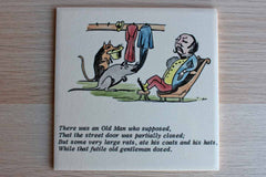 Ceramic Tiles Decorated with Cartoonish Scenes of Men and Poems, Made in England