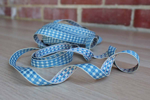Medium-Weight Blue and Pink Checkered Ribbon, Priced by the Yard