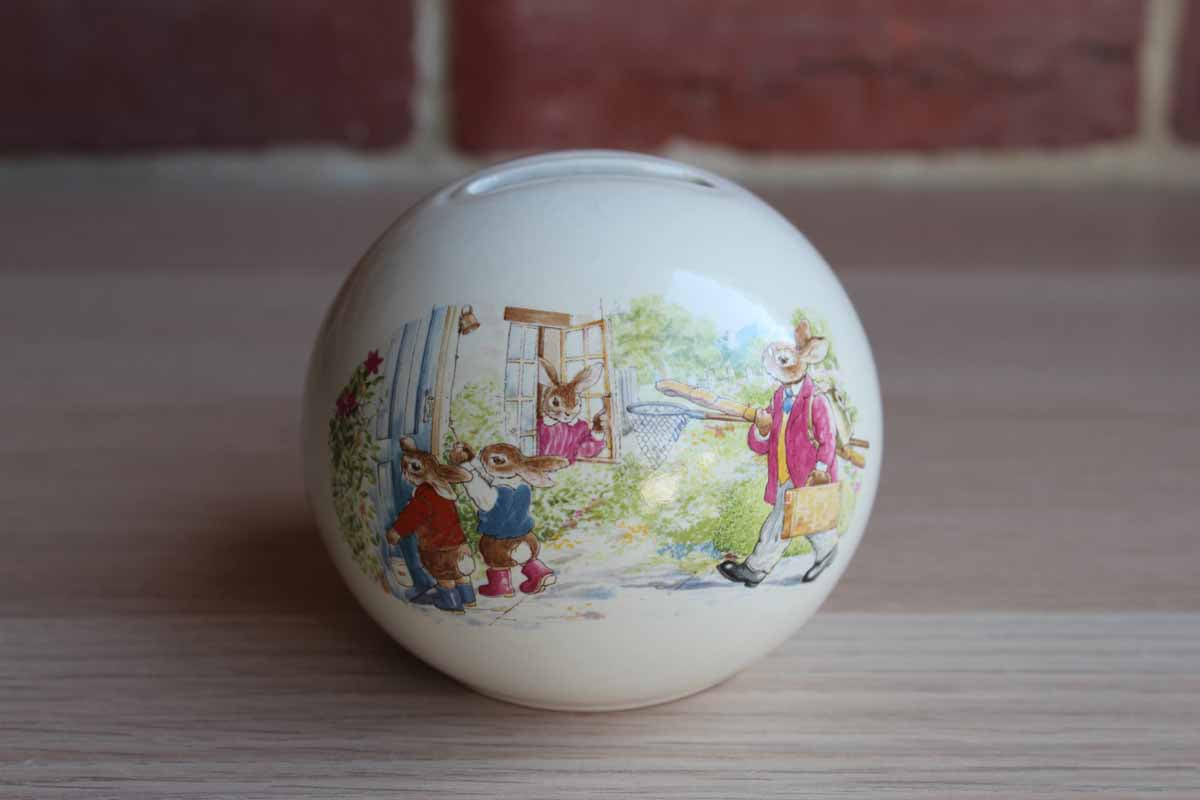 "Royal Doulton (England) 1988 Bunnykins ""Home from Fishing"" Money Ball"