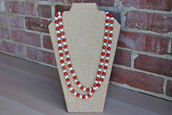 Long Red and White Painted Wood Beaded Necklace with Dripped On Gold Accents