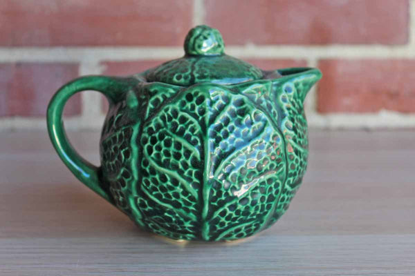 Majolica Style Green Ceramic Teapot with Lid