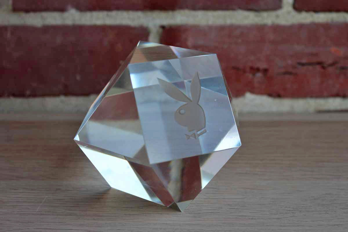 Cut Crystal Paperweight with Etched Playboy Bunny Head Logo
