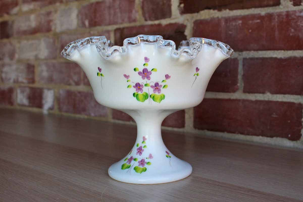 Fenton Art Glass (West Virginia, USA) Silver Crest Footed Pedestal Bowl Handpainted by C. Evans