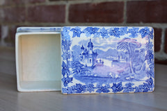 Maling (England) Blue and White Ceramic Card or Storage Box