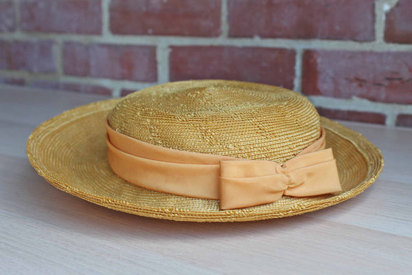 Lewees (Pennsylvania, USA) Yellow Straw Hat with Yellow Ribbons