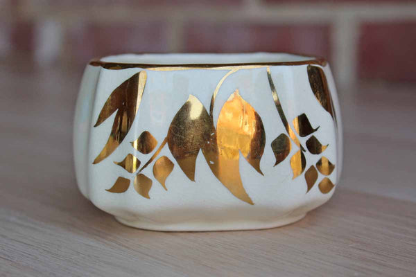 Lancaster & Sandland Ltd. (England) Small Ceramic Sandlandware Bowl with Gold Painted Flowers