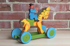 Wooden Man on Horse Toy