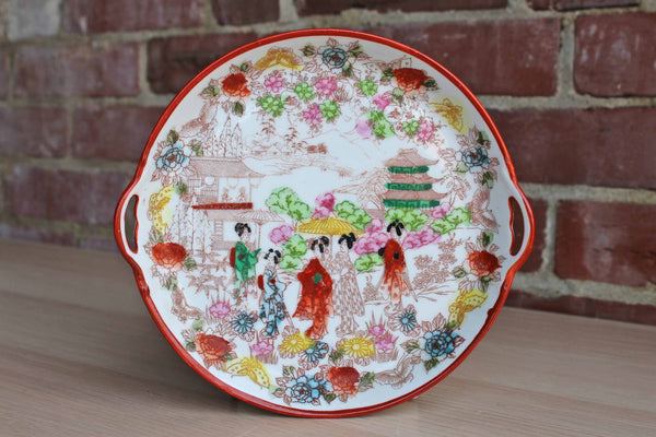 Small Round Handled Tray Decorated with Handpainted Geishas, Made in Japan