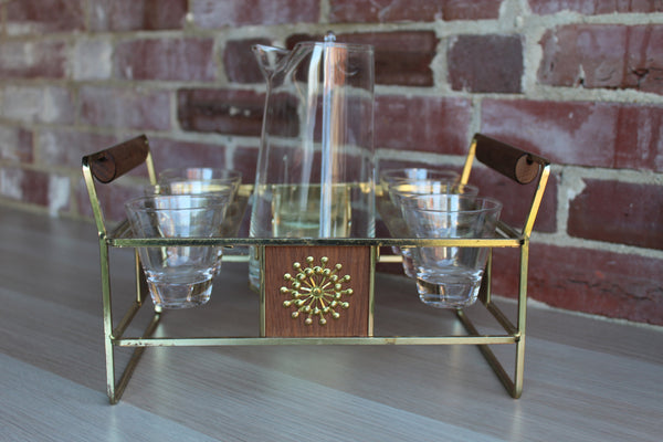 7-Piece Glass Martini Set with Matching Gold Tone Metal and Wood Caddy