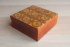 Handcrafted Ornamental Wood and Wire Hinged Lidded Trinket Box