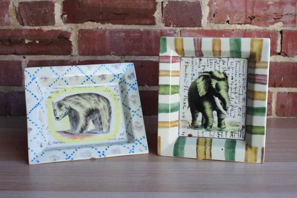 John Derian (New York, USA) Stoneware Trays Decorated with a Polar Bear and an Elephant, A Pair