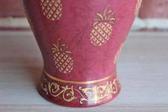 Andrea by Sadek Baluster Shaped Maroon Vase with Gold Pineapples and Floral Scroll