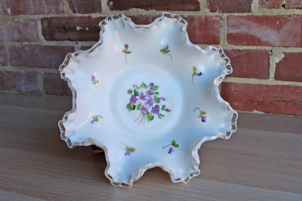 Fenton Art Glass (West Virginia, USA) Silver Crest Bowl with Handpainted Purple Flowers