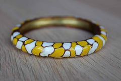 Yellow and White Patterned Enamel and Brass Bracelet