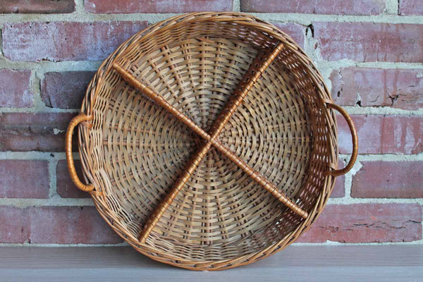 Hand Woven 4-Compartment Honey Brown Handled Basket