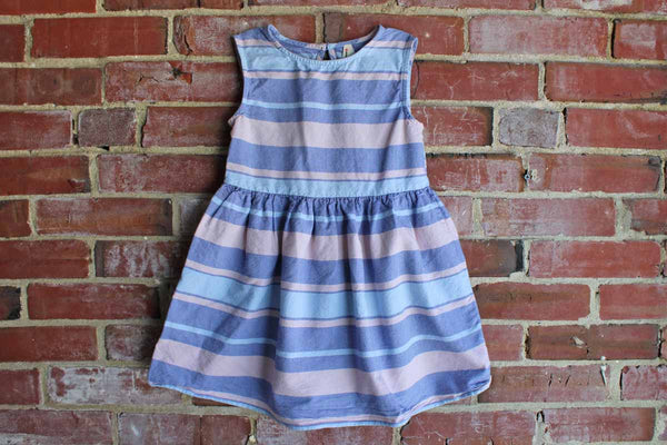 Young Dimension (Made in India) 100% Cotton Pink and Blue Striped Dress, 7/8 Years