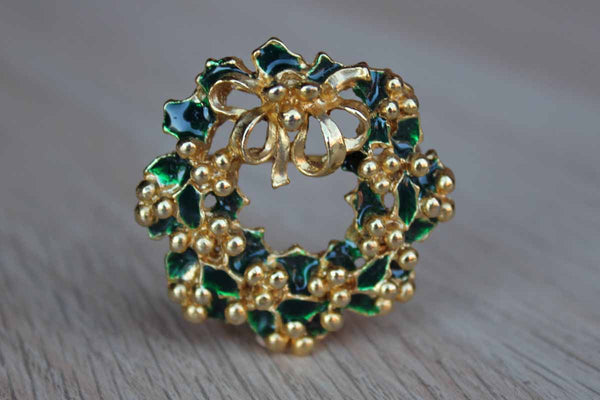Gold Tone Wreath Brooch with Glossy Green Enameled Holly Leaves