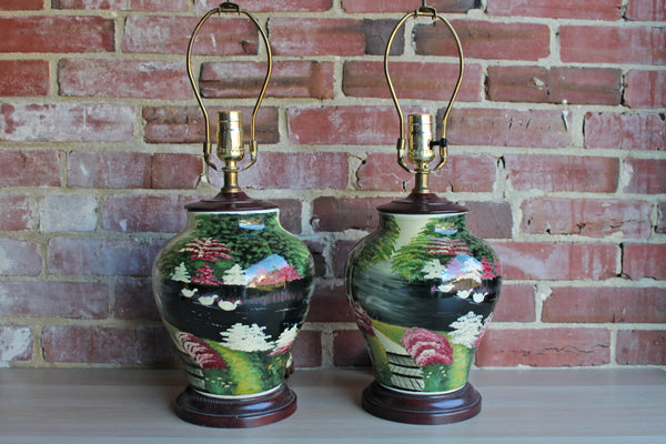 Ceramic Baluster Lamps Handpainted with Flowers, Swans, and Pergola, A Pair