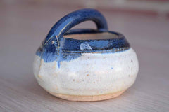 Small Blue and White Stoneware Bowl with Handle