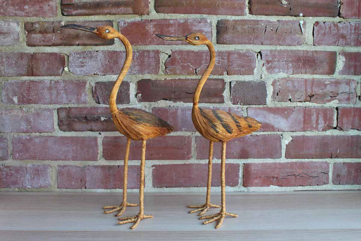 Wire Framed Tall Sea Bird Figurines, A Pair