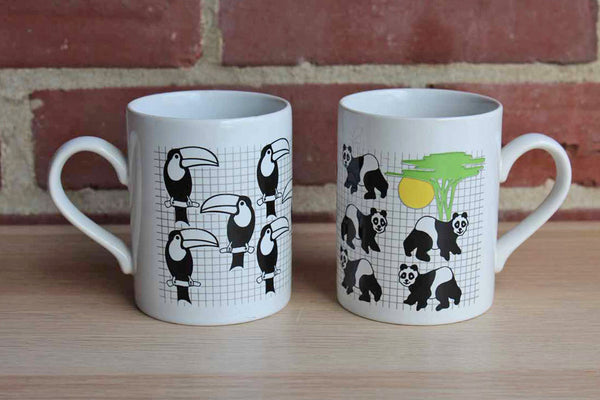 Kiln Craft (Staffordshire, England) Ceramic Drink Mugs Decorated with Toucans and Pandas