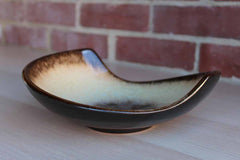 Abstract Swirled Bowl Glazed in Shades of Brown, Gold and Cream